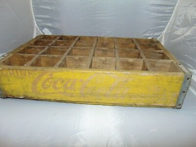 """vintage Coca Cola wooden Crate holds 24 bottles Yellow with red lettering 18"""""""