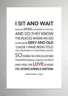 ROBBIE WILLIAMS - Angels - Sound Wave Print Poster Art
