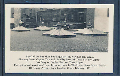 New London CT Roof of Bee Hive Building RPPC real photo picture postcard 1938
