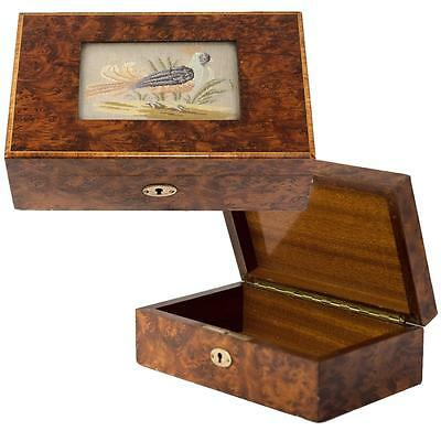 Antique English Burled Jewelry or Cigar Box, Casket, Embroidery with Game Fowl