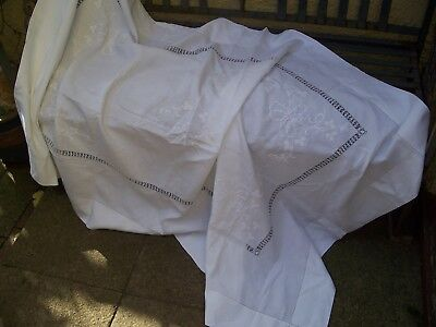 Stunning White Vintage Irish Linen refectory tablecloth with white embroidery