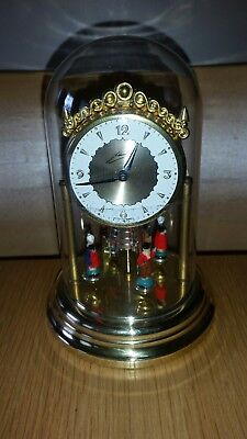 Vintage Schmid Clock Under Dome, Wind Up, Rotating Figures, West Germany.
