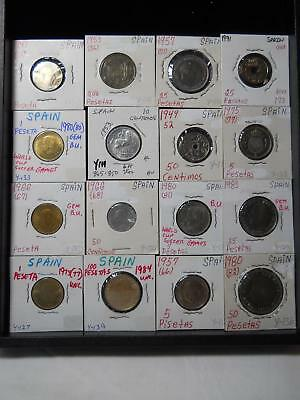 Sixteen Old Coins From Spain Nice Lot All Different Many High Grade