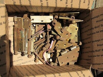 Large Box Lot of Antique Ball Tip Top Hinges and Parts - Charlotte House