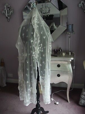 antique embroidered lace wedding veil stole shawl
