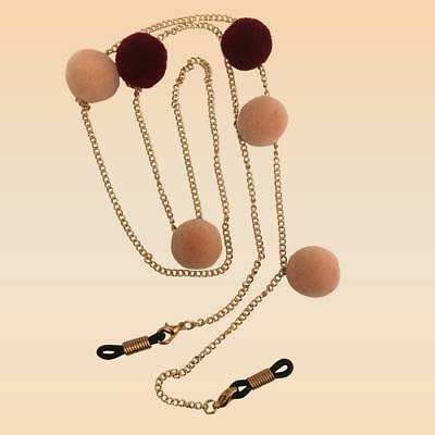 NEW Gold Chain With Peach & Maroon Pom Pom Glasses Strap Holder Long Length