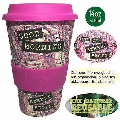 Bambus Coffee to Go Becher 400ml Good Morning Kaffeebecher Trinkbecher Cup