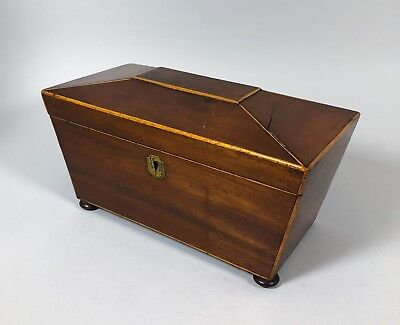 Victorian rosewood sarcophagus tea caddy 3-section box inlay edges mixing bowl