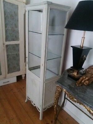 Antique Vintage French style glass shelved display cabinet..