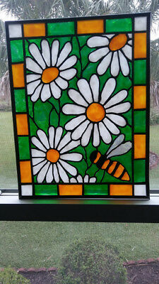 Daisies Stained Glass Window Panel Hand Painted
