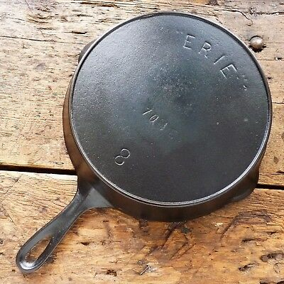 Antique GRISWOLD Cast Iron SKILLET Frying Pan # 8 ERIE 1800's - Ironspoon