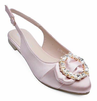 Womens Flat Pink Diamante Party Prom Wedding Dress Shoes Pumps Sizes 3-8
