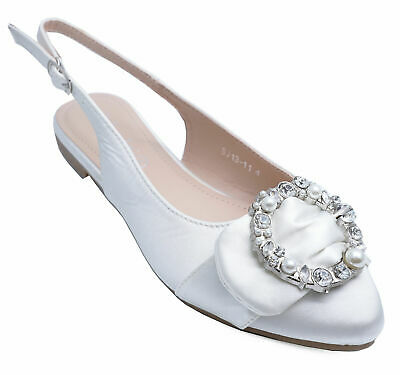 Womens White Flat Diamante Party Prom Wedding Dress Shoes Pumps Sizes 3-8