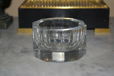 Wonderful Vintage Moser Art Deco Style Modernist Clear Crystal Medium Candy Dish