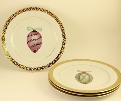 1991 Gold Buffet Royal Gallery China Easter Faberge Egg 8-1/2'' Plates Set of 4
