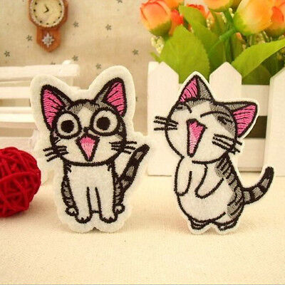 2X Sweet Twin Cat DIY Embroidery Cloth Iron On Patch Sew Motif Applique、Fad