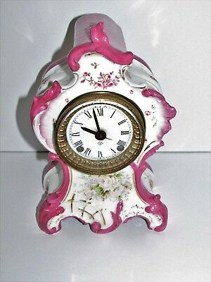 Porcelain FRENCH CLOCK Boudoir Mantel Shelf Clock Ansonia Movement #171
