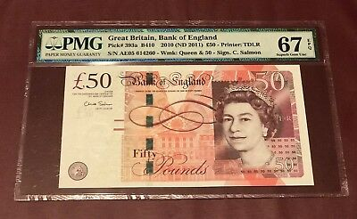 GREAT BRITAIN BANK OF ENGLAND  50 POUND 2010 PMG 67 GEM UNC EPQ PICK 393a SALMON