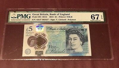 Great Britain Bank Of England  5 Pounds 2015 Pmg 67 Gem Unc Epq Pick 394 Cleland