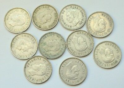 Great Britain Uk 3 Pence Lot Of 10 Coins 1838/1939 Silver