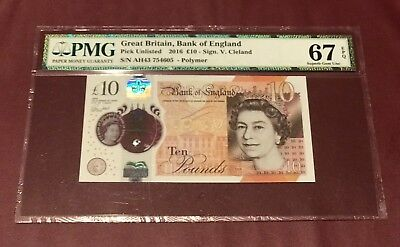 Great Britain Bank Of England 10 Pound 2016 Pmg 67 Superb Gem Unc Pick New