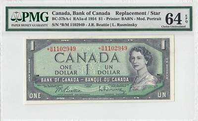 1954 Bank Of Canada Qeii $1 **star Note** (( Pmg 64 Epq ))