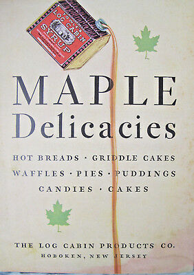 Towle's Log Cabin Syrup 1929 Maple Cook Book Advertising Booklet Pamphlet