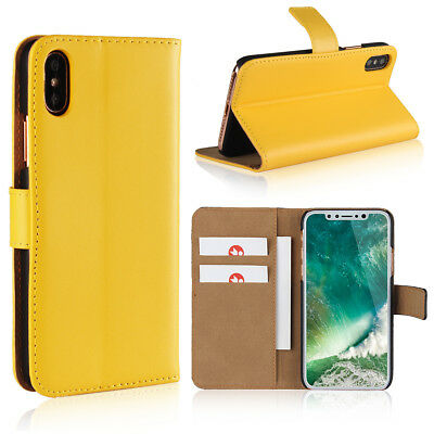 For iPhone X Yellow Genuine Leather Classic Flip Wallet Card Case Cover Stand