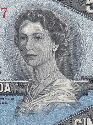 1954 BANK OF CANADA QEII $5 **DEVILS FACE** (( EF+/aUNC ))