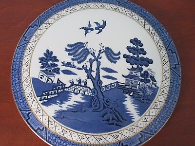 """Royal Doulton Booths Real Old Willow 11"""" Cake Plate, 1981"""