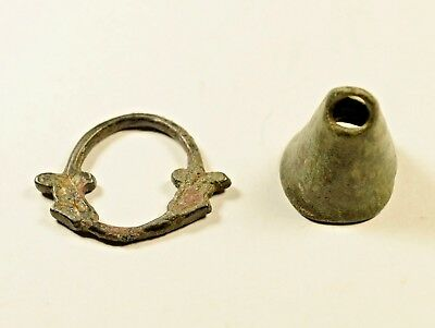Rare Ancient Bronze Celtic Proto Money Currency 700 Bc - Bell & Ring