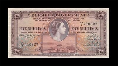1.5.1957 British Colony Bermuda 5 Shillings Qeii 5/- (( Ef ))