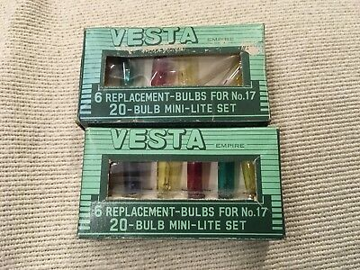 Vintage Vesta Christmas 20 Bulb Mini Lite Set..replacement Bulbs..6 In Box X2