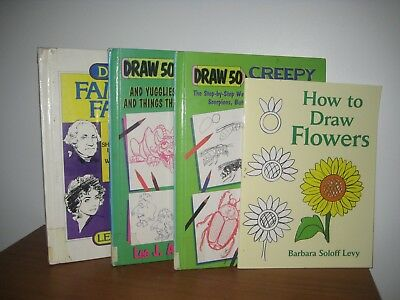 Draw 50/ Lee Ames/  art/  hardback/ 5 books/ faces/cats/ flowers/ crawlies