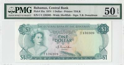 "1974 British Colony Bahamas Qeii $1 ""c/1"" (( Pmg 50 Epq ))"