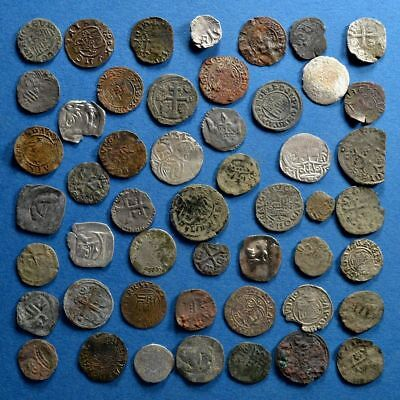 Lot of 50 Medieval Dark Ages Silver and Bronze Coins #1