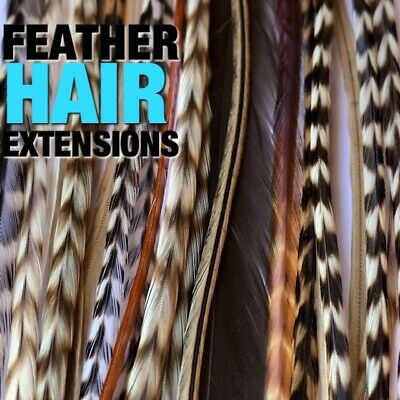 Feather Hair Extensions NATURAL Grizzly 18pc REGULAR WIDTH Pack Beads Tools Kit