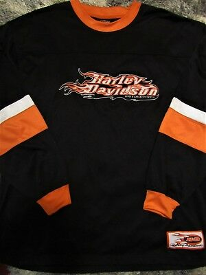 HARLEY-DAVIDSON Men's XL Long Sleeve T-Shirt Embroidered H-D Flames GR8 Cond EUC