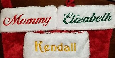 Personalized Monogrammed Embroidered Christmas stockings plush FREE SHIPPING