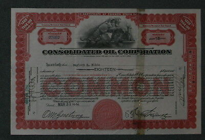Consolidated Oil Corporation 1932 18 Shares .