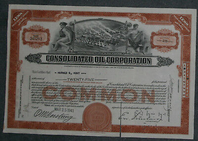 Consolidated Oil Corporation 1941 25 Shares .