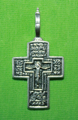 Vintage Crucifix 925 Silver Cross Pendant Orthodox Crosses Collecting #66