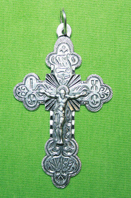 Vintage Crucifix 925 Silver Cross Pendant Orthodox Crosses Collecting #27