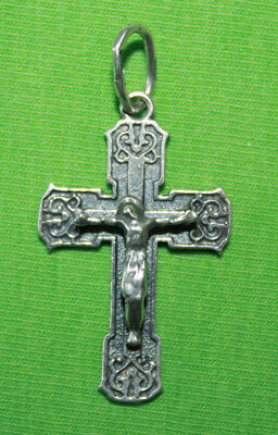 Vintage Crucifix 925 Silver Cross Pendant Orthodox Crosses Collecting #71