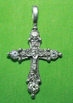 Vintage Crucifix 925 Silver Cross Pendant Orthodox Crosses Collecting #93