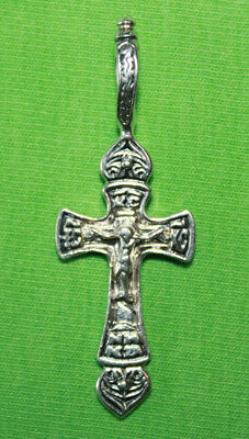Vintage Crucifix 925 Silver Cross Pendant Orthodox Crosses Collecting #94