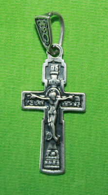 Vintage Crucifix 925 Silver Cross Pendant Orthodox Crosses Collecting #86