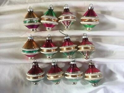 12 Vintage Shiny Brite Christmas Ornaments in Box-Tops Striped