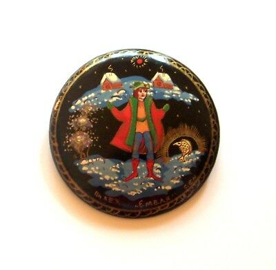 Russian Hand Painted Lacquer Wooden Brooch/pin