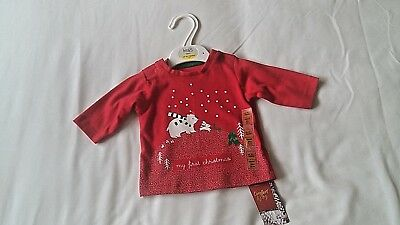 marks & spencer BOYS/GIRLS MY FIRST CHRISTMAS  TOP one month NEW/TAGS
